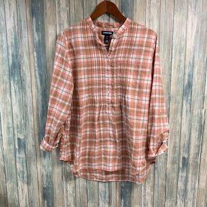 Lands' End Soft Wash Flannel Shirt sz 16 #T55